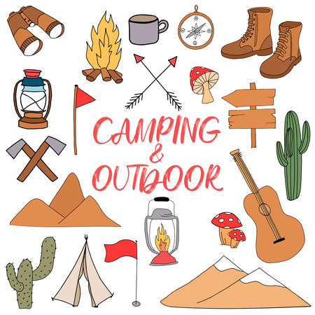 Handmade elements of camping and outdoor recreation, isolated on a white background. Cute background full of icons perfect for summer camp flyers and posters. Vector illustration.