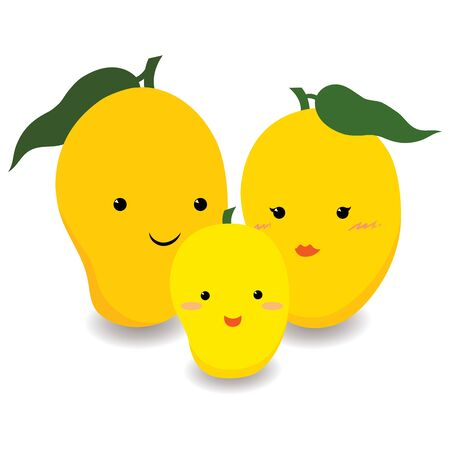 Illustration vector of cute ripe yellow mango family cartoon character design, father, mother and child for baby and toddler products or other design. Illustration
