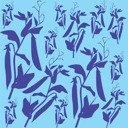 pattern with blue silhouettes of peas on a blue background