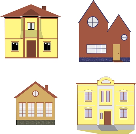 cozy yellow and brown houses, mansion, Villa illustration