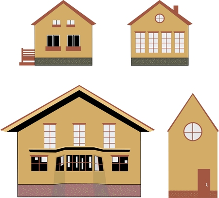 cozy houses and villas, isolated icons on white background