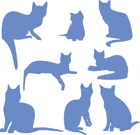silhouettes of a sitting blue cats