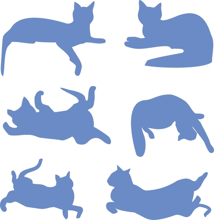 silhouettes of a reclining cat blue
