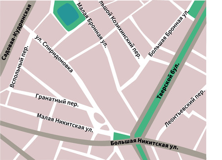 map of Patriarshie Prudy Moscow pink colors