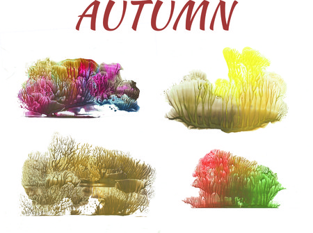 autumn forest, abstract drawing on white background, group of objects Reklamní fotografie