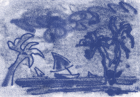 palm trees and boats at sea, sketch of blue paint