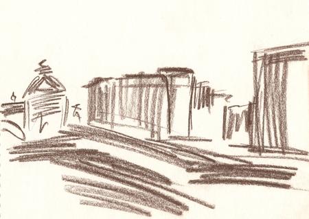 disegno della città con matita marrone, schizzi di città, paesaggio urbano, case, monumento, schizzo veloce Archivio Fotografico