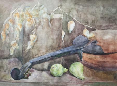 Stillleben mit Obst und Musikinstrument Aquarell