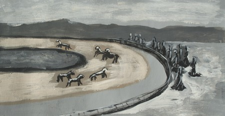 racetrack drawing, abstraction, horses running on the tracks
