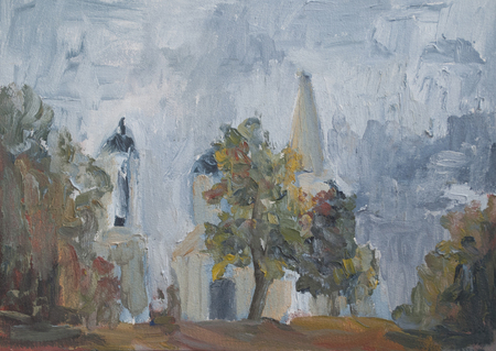 summer landscape with trees, greenery, Park, Church among the trees oil painting, impressionism, abstraction