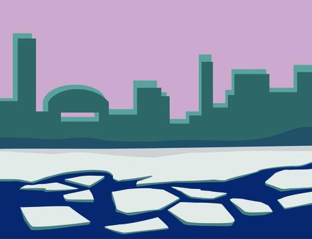 broken ice on the river. illustration Standard-Bild - 125730711