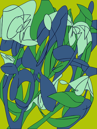 flowers, abstract drawing pattern, background collor illustration Standard-Bild - 125730713