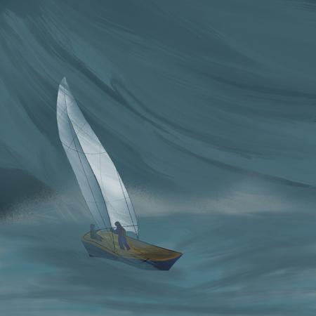 yachts at sea, hurricane storm Stock Photo