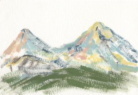 Ararat, landscape with mountains gouache sketch