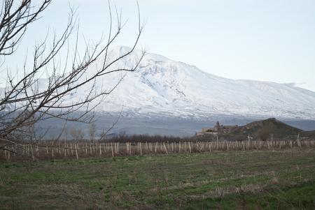 view of the monastery near the mountain Ararat