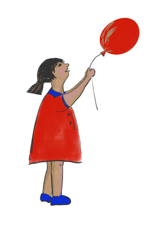 the girl with a balloon in her hands Standard-Bild - 125431865