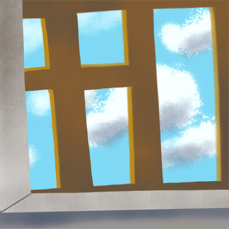 clouds outside the window in the blue sky, flower Standard-Bild - 125431869