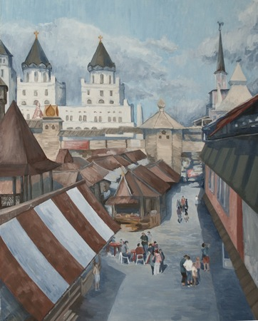 retro landscape with palaces and cathedrals Standard-Bild - 125431874