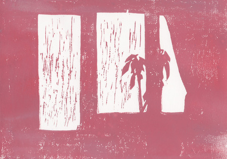 silhouette of a flower standing on the window, abstract Standard-Bild - 125431879