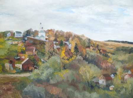village on the river bank, a rural landscape with a church Standard-Bild - 125431925