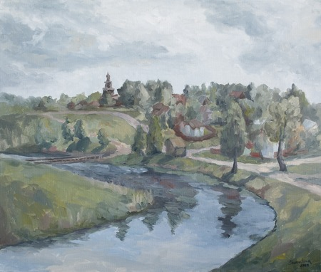village on the banks of the river, a rural landscape with a Church Standard-Bild - 125431926