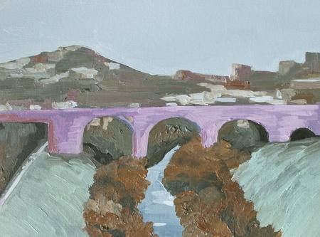 the pink bridge over the river, urban landscape