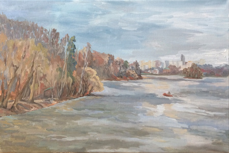 the boat floats on the river, the city on the horizon, autumn landscape Standard-Bild - 125431929