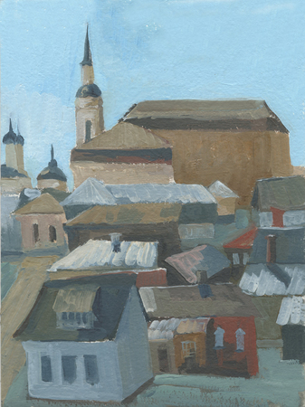 small city, urban landscape with houses and churches Standard-Bild - 125431930