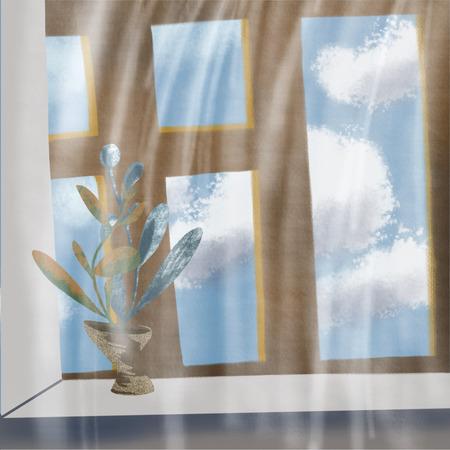 clouds outside the window in the blue sky, flower Standard-Bild - 125431934