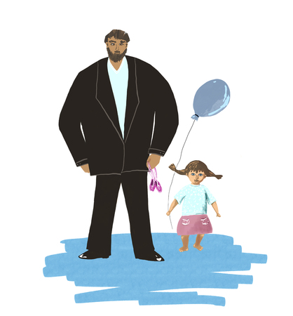 big father and little daughter, father's day illustration Standard-Bild - 125431995