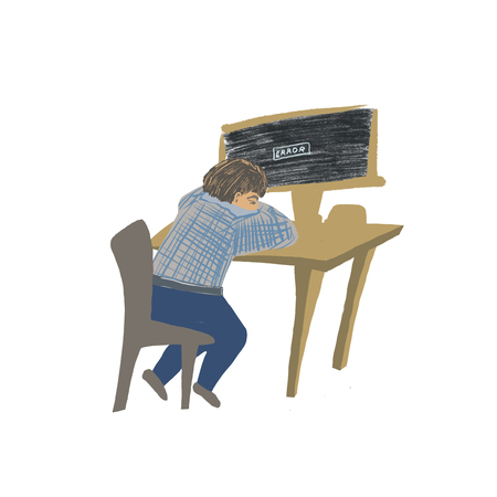 computer gives an error, tired worker in front of computer Standard-Bild - 125431997