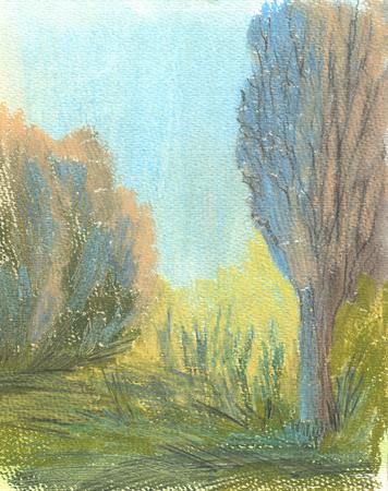 pastel grass and trees pastel drawing, summer landscape Standard-Bild - 125432005