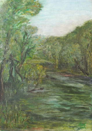 oil summer landscape with green trees by the river Standard-Bild - 125432007