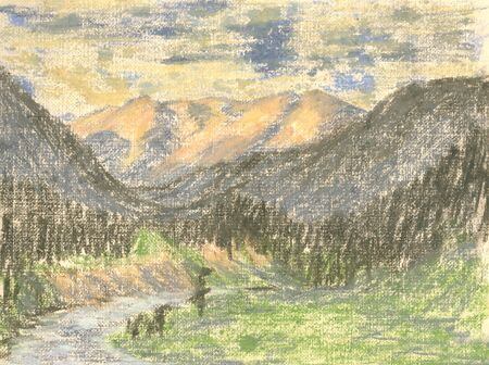 mountain landscape, drawing mountains on the horizon Standard-Bild - 125432057
