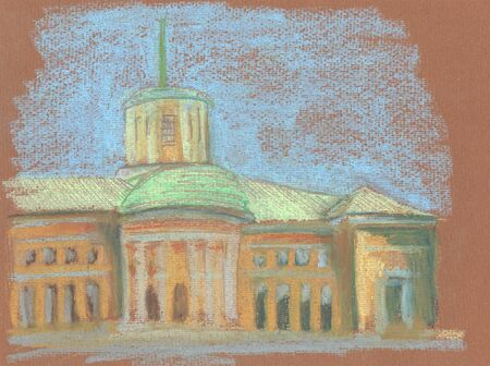 old building with columns pastel illustration Standard-Bild - 125432062
