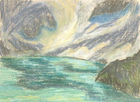 green lake in the mountains on the horizon Standard-Bild - 125432063