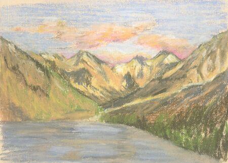 mountain landscape, lake in the mountains on the horizon Standard-Bild - 125432065