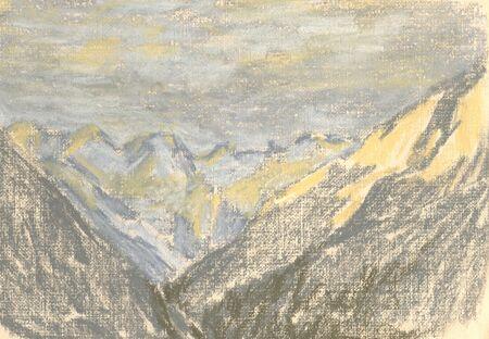 mountain landscape, drawing mountains on the horizon Standard-Bild - 125432070