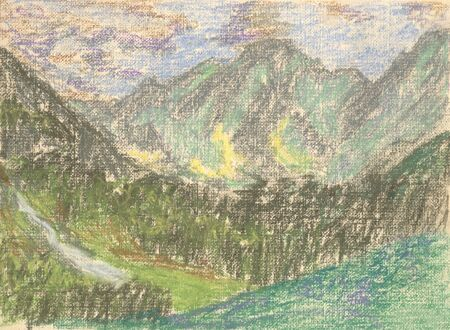 mountain landscape, drawing mountains on the horizon Standard-Bild - 125432073