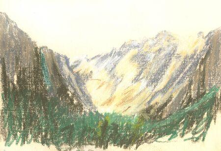 mountain landscape, drawing mountains on the horizon Standard-Bild - 125432074