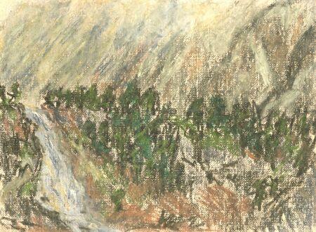 waterfall in the mountains, mountain landscape pastel Standard-Bild - 125432075