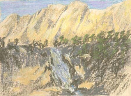 waterfall in the mountains, mountain landscape pastel Standard-Bild - 125432105