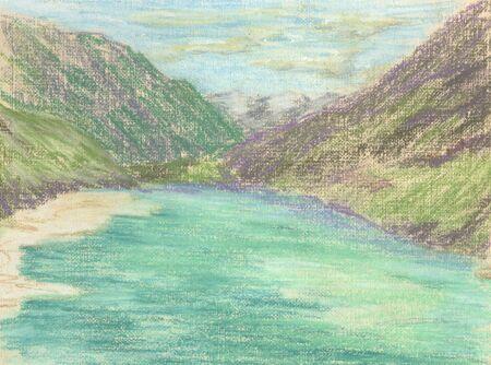 mountain landscape, lake in the mountains on the horizon Standard-Bild - 125432108