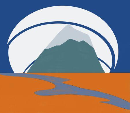 the river and mountain, travel icon design Standard-Bild - 127106068