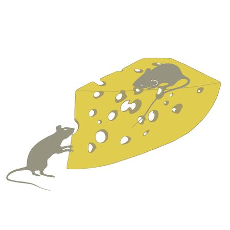rats and cheese on a white background illustration Standard-Bild - 127106071