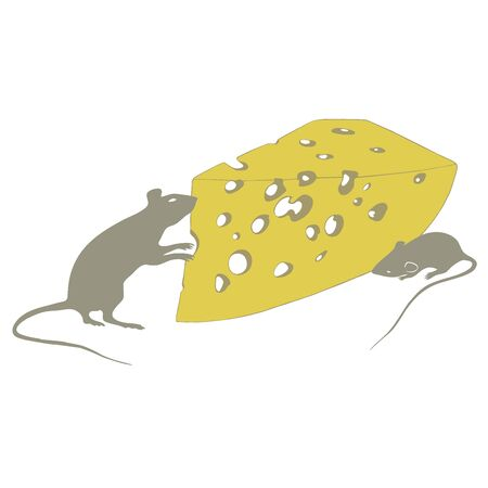 rats and cheese on a white background illustration Standard-Bild - 127106074