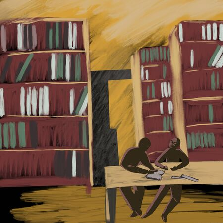 people read books in the library, the shelves with books Standard-Bild - 129294098