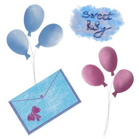 congratulations on the birth of a child, birth of a child, balloons and a greeting envelope