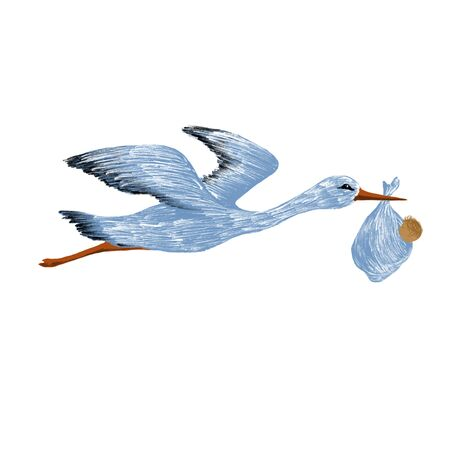 the birth of a child, the stork carries the baby Standard-Bild - 129294093