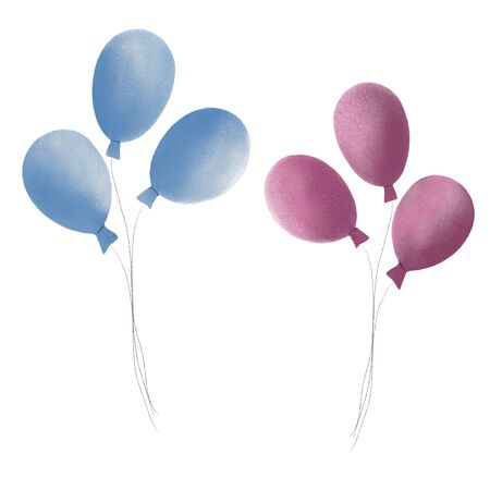 pink and blue balloons for the holiday, the birth of a child